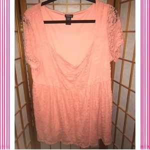 Plus size pink lace top